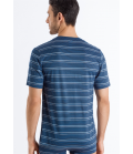 HANRO Sporty Stripe V-neck Short Sleeve Shirt