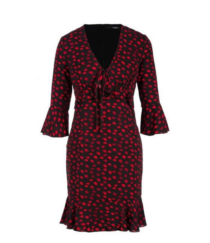 GUESS WOMEN'S BLACK DRESS WITH LIPS