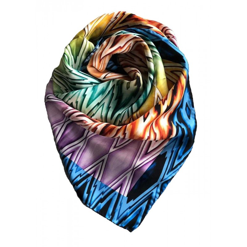 Digital Zig Zag Printed Silk Square Scarf