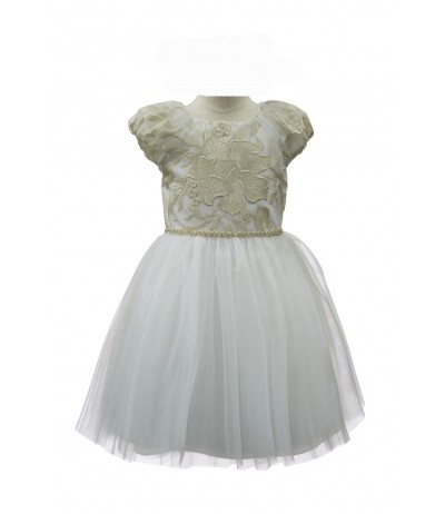 David Charles Ivory and Gold Jewelled Dress