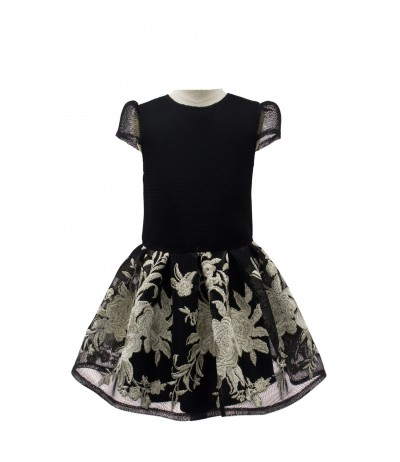 David Charles Black and Metallic Floral Gown