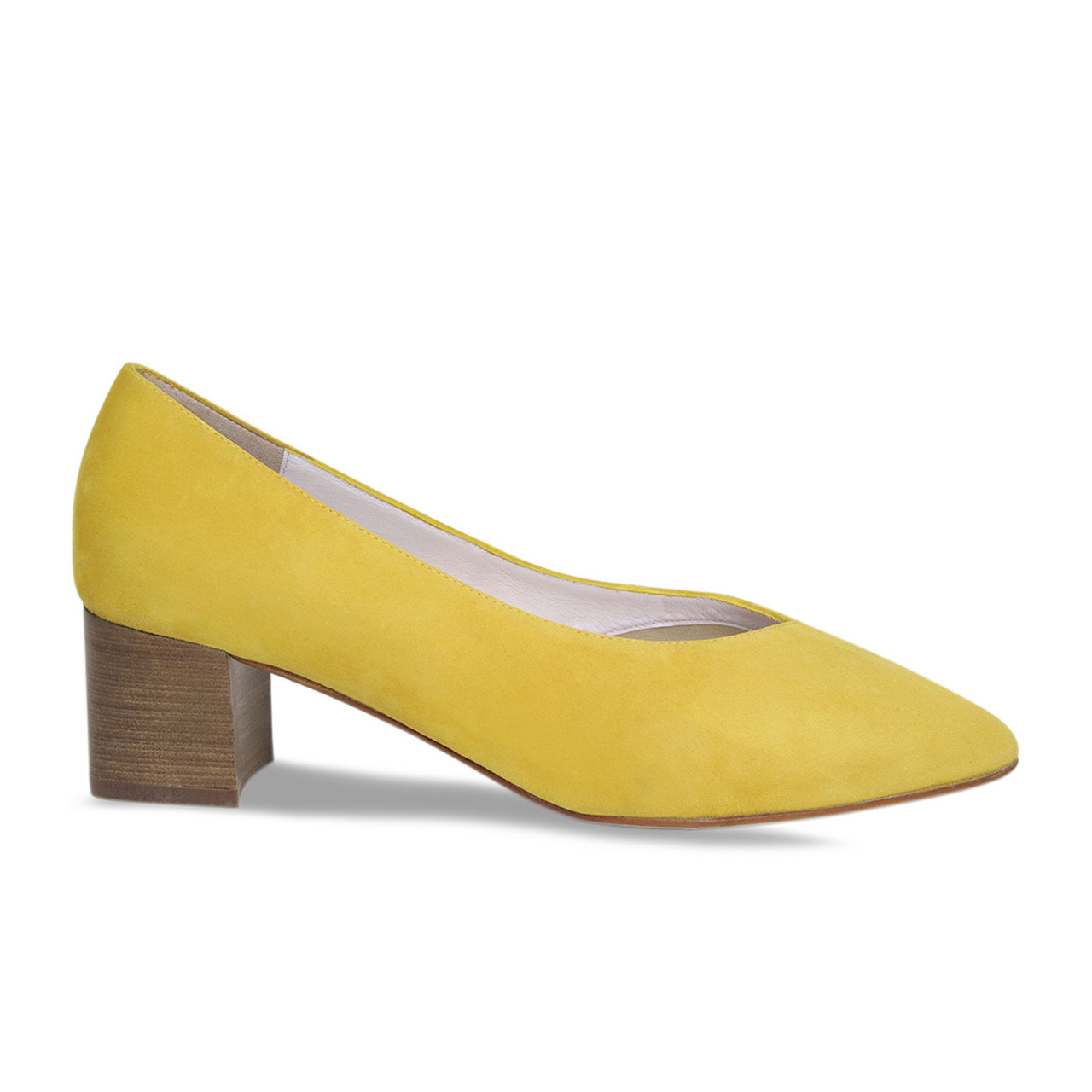 Ingrid Yellow Suede wide width office shoes women