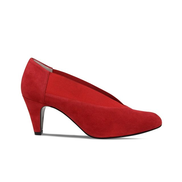 Red Suede – Mercy - Wide Width Office Red Shoes Ladies Picture